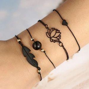Black Lotus Feather Heart Bracelet Set New